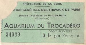 Aquarium Du Trocadero Paris Fish Museum Old Ticket