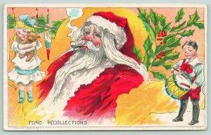 Christmas~Santa Smokes Pipe~Remembers~Girl Hugs Teddy Bear~Boy Plays Drums~Silk