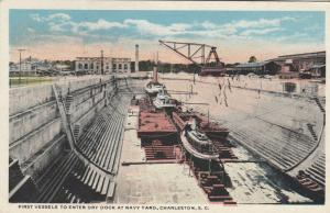 CHARLESTON, South Carolina, 1921; First Vessels Entering Dry Dock at Navy Yard