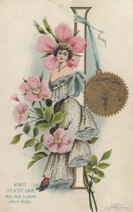 IOWA, 1900-10s; State Girl, Seal and Flower, Wild Rose