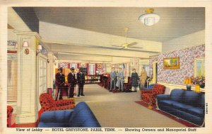 LP19  Paris  Tennessee Postcard  Hotel Greystone Lobby view