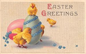 Easter~Chicks Play By Big Pink & Mint Eggs~Blue Forget-Me-Nots Garland~Emboss