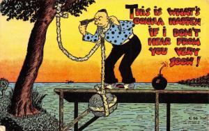 Comic Depression~If I Don't Hear Soon: Hanging Drowning Bomb Pistol~1940s Linen