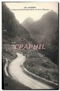 Old Postcard The road to Luz St Sauveur at the door & # 39Espagne