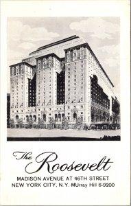 Hotel Roosevelt Madison Avenue NY East Side Roast Beef Room heliport VT Postcard