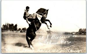 Weiser, Idaho RPPC Real Photo Postcard ROUND UP Rodeo Al J. Biscario BURNS Photo