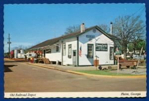 Plains Georgia ga Old Railroad Depot Continental chrome Postcard
