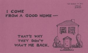 I Come From A Good Home Thats Why I'm Not Wanted Back Comic Proverb Postcard