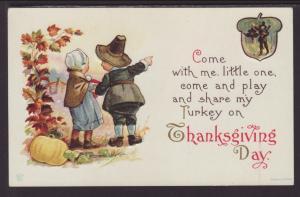 Thanksgiving,Boy and Girl Pilgrim Postcard