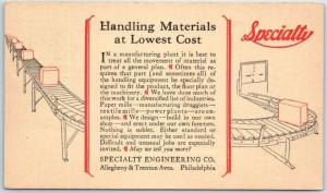 1930 Philadelphia PA Advertising Postcard SPECIALTY ENGINEERING Factory Systems