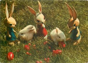 Easter bunny rabbits & puppets postcard