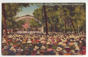 P734 1950 posted stamp williams park bandstand people st petersburg florida