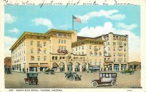 1932 Santa Rita Hotel automobiles TUCSON ARIZONA Herz Teich postcard 4588 Flag