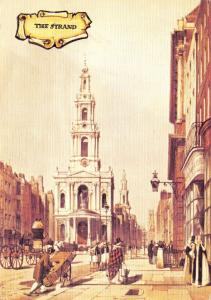 Linen Postcard The Strand, London, Colourmaster Int.Old English Series NEW