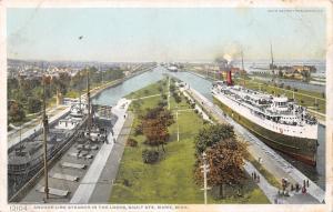Sault Ste Marie MI~Detroit Publishing #12104 Anchor Line Steamer in Locks~1920s