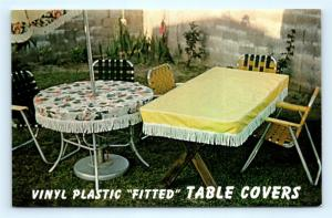 Postcard Vinyl Plastic Fitted Table Covers c1960s  J11