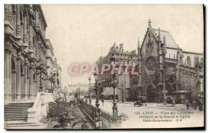 Old Postcard Lyon Place des Cordeliers Peristyle of the Exchange and Church S...