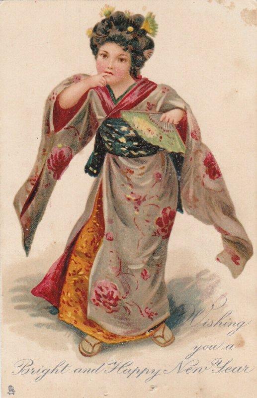 Geisha Girl NEW YEAR  , 1900-10s ; TUCK