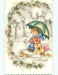 foreign Old Postcard BUNNY RABBIT BY FRENCH BOY WITH GUITAR AND UMBRELLA AC3381