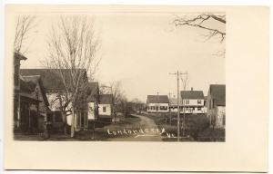 Londonderry VT Dirt Street View Telephone Poles  RPPC Real Photo Postcard