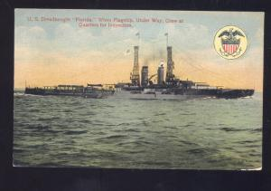 UNITED STATES NAVY MILITARY SHIP USS DREADNAUGHT FLORIDA VINTAGE POSTCARD