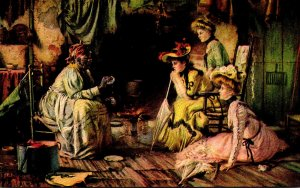 Woman Telling Fortune To Three Young Victorian Ladies