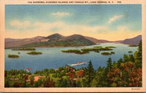 New York Lake George The Narrows Hundred Islands and Tongue Mountain 1940 Cur...