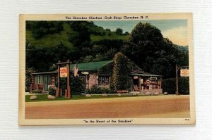 The Cherokee Chieftan Craft Shop Cherokee NC Linen Postcard Heart of the Smokies