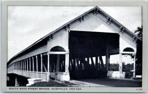 Rushville, Indiana Postcard South Main Street COVERED BRIDGE Wayne Paper c1940s