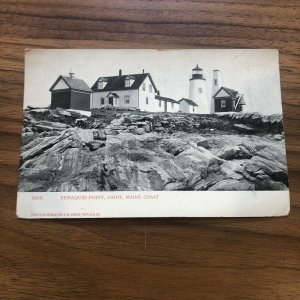 PEMAQUID POINT ME LIGHT HOUSE ANTIQUE REAL PHOTO POSTCARD RPPC MAINE
