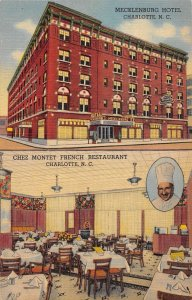 Charlotte North Carolina view of hotel and restaurant linen antique pc ZE686230