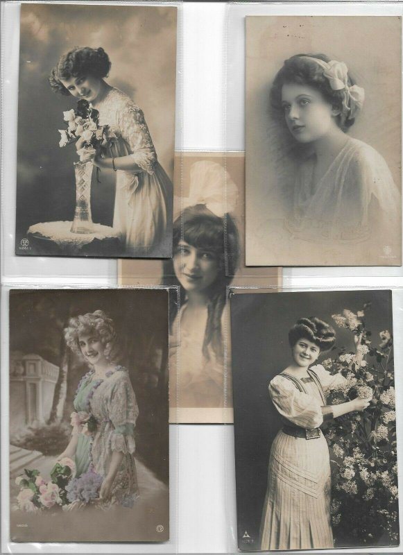 Art Nouveau Pretty Ladies And Romantic RPPC Postcard Lot of 10 01.10