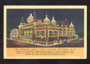 MITCHELL SOUTH DAKOTA THE WORLD'S FAMOUS CORN PALACE LINEN ADVERTISING POSTCARD