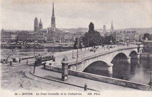 ROUEN, Seine Maritime, France, 1900-1910s; Le Pont Corneille Et La Cathedrale
