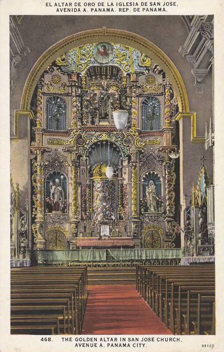 Interior View, Golden Altar in San Jose Church, Avenue A, Panama City, Panama...