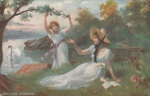 SPRINGTIDE BLOSSOMS, 1900-10s; Young ladies enjoying the spring, swan; TUCK 9369