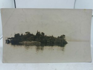 Vintage Photo Small Island in the Middle of Lake Brunner Moana New Zealand 1932