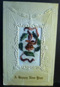 Postcard Happy New Yeak Embroidery Silk C38
