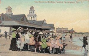 NARRAGANSETT PIER, Rhode Island, 1909 ; Beach & Bathing Pavilion