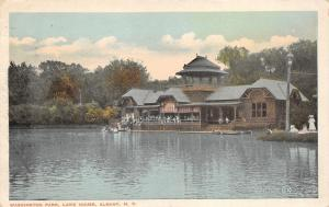 Albany New York~Washington Park Lake House~Boats in Water~Girls in Grass~1919 PC