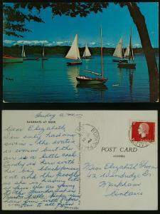 Sailboats at dusk, pmkd  Burk's Falls Ontario 1966