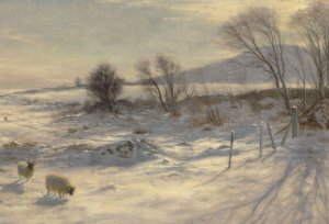 Joseph Farquharson When Snow The Pasture Sheets WW1 Painting Postcard