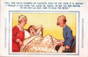 Vintage risque comic seaside humour colour postcard gas man examined daughter