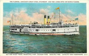 Steamship, The Florida, Il, Chicago, Illinois, Curt Teich No. 97726