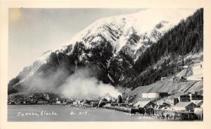 Juneau Alaska~Waterfront View~Piers-Buildings-Smoking Stacks-Mine? on Hill~RPPC