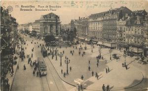 Bruxelles/Brussels Belgium~Place de Brouckere~Brouckere's Place~Trams 1928 B&W