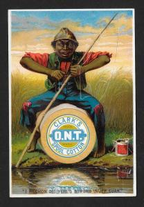 VICTORIAN TRADE CARD Clark's Thread Black Boy Fishing