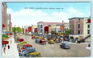 FINDLAY, Ohio OH ~ MAIN STREET Scene c1940s Hancock County Linen Postcard