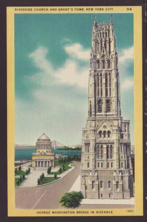 Riverside Church,Grant's Tomb,New York,NY Postcard