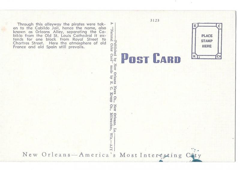 Pirates Alley New Orleans LA Vintage Linen Postcard EC Kropp